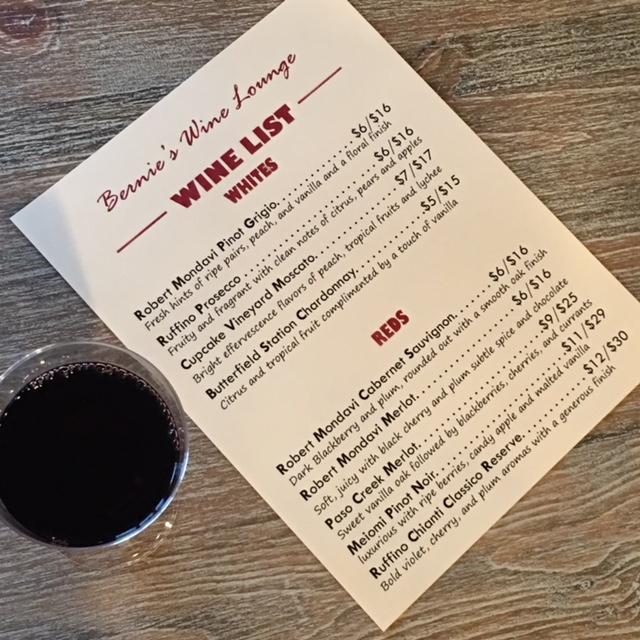 Bernies Backyard Wine Menu