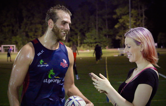 Follow the Lone Star Rugby Team on Facebook and Instagram! Colton Pederson (Left) with Jennifer Bruse (Right)