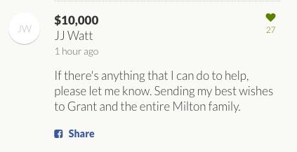 jj watt donates to grant milton