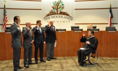 Judge Phil Grant swears in recently elected Board Directors, left to right, Gordy Bunch, John Anthony Brown, Brian Boniface and Bruce Rieser.