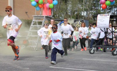 conroe high school band color fun run 2017