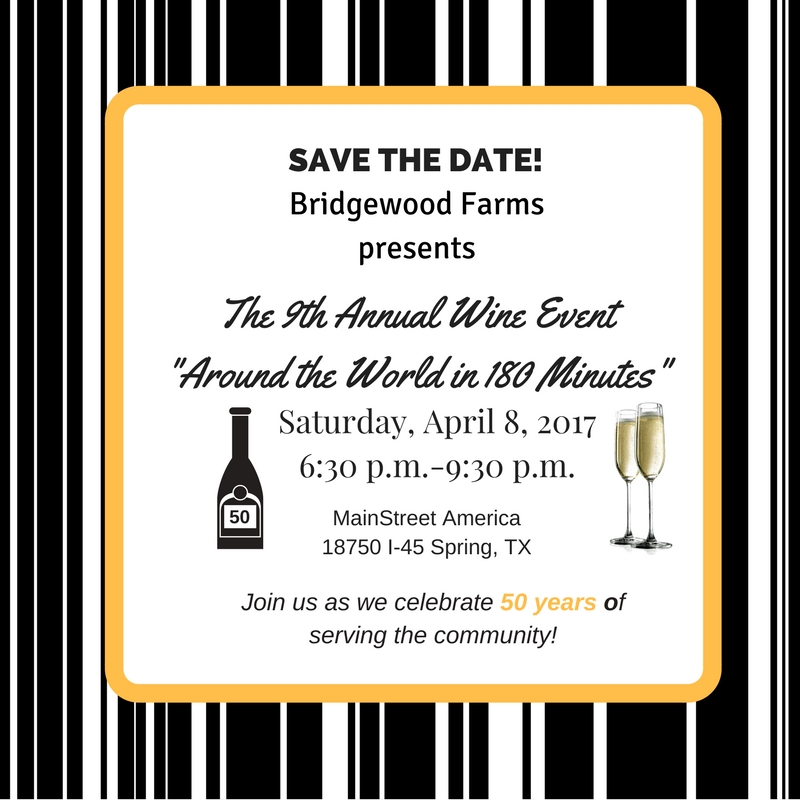 Bridgewood Farms Wine-ing Up for Annual Around the World in 180 Minutes Fundraiser