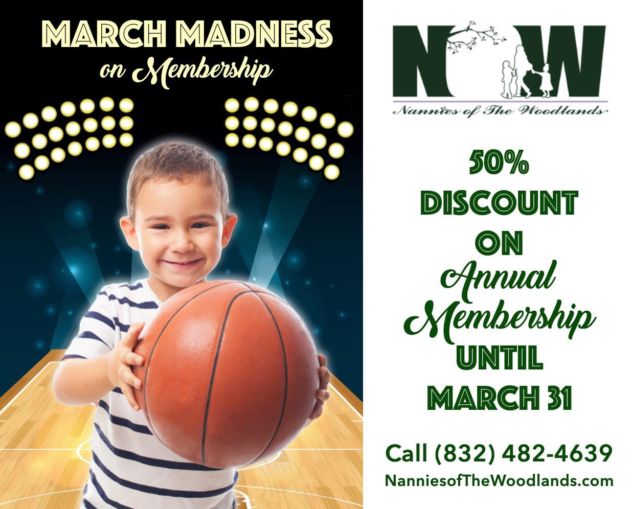 Nannies of The Woodlands March Madness Discount