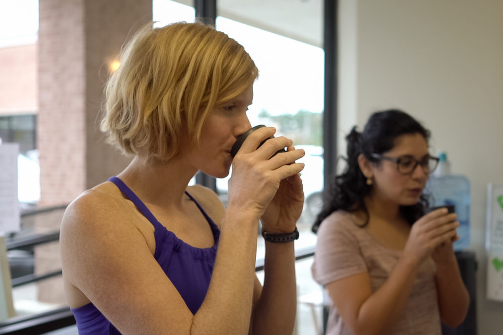 Body & Brain Conroe encourages members to stay after each class to relax with a cup of healing tea and share about their experiences that day. Cherie Clark-Moore, owner and chief instructor, credits this time with building a sense of community among members.
