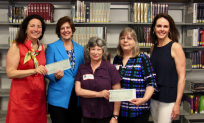 Representatives from the Barbara Bush Library, Clara Maynard and Susan Greer, and Devery Johnson, outreach coordinator from the Montgomery County Memorial Library System, joined Signatures Co-chairs on campus to accept donations from the 2017 Signatures Author Series luncheon. Both libraries are using the funds to go toward books lost due to Hurricane Harvey last year. Pictured from left are Swanbeck, Johnson, Maynard, Greer and DeMarco. The 2018 Signatures luncheon will be held on November 30 featuring international bestselling novelist Kevin Kwan. Reservations go on sale online on July 1 at www.johncooper.org/specialevents.