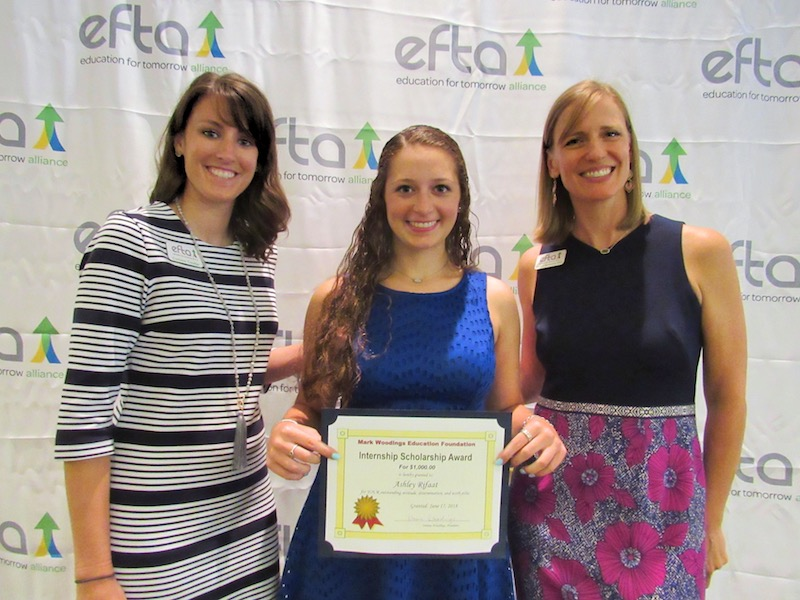 Program Director at EfTA, Corinne Coulter (left), and President of EfTA, Monica Bomkamp Enia (right), present recent graduate of The Woodlands College Park High School and 2017 EfTA intern at On Center Software, Ashley Rifaat, The Mark Woodings Education Foundation Scholarship.