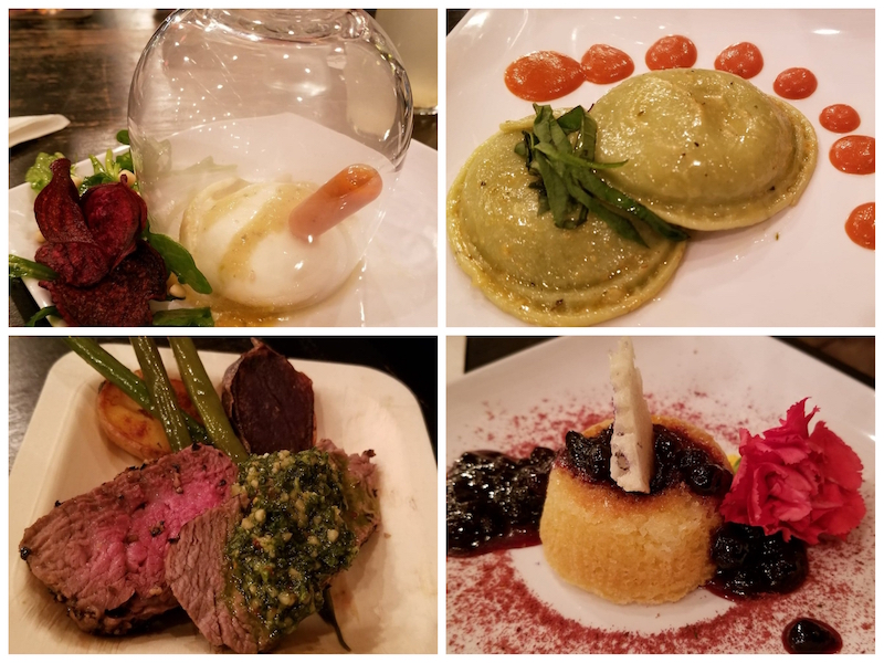 "Samples from ""Tasting of Fare"" - Smoked Burrata and Beet, Ravioli and Tomato Cream, Steak Au Poivre with Kale Chimichurri, Upside Down Polenta Cake - Clover Honey Polenta Cake with Huckleberry Compote."