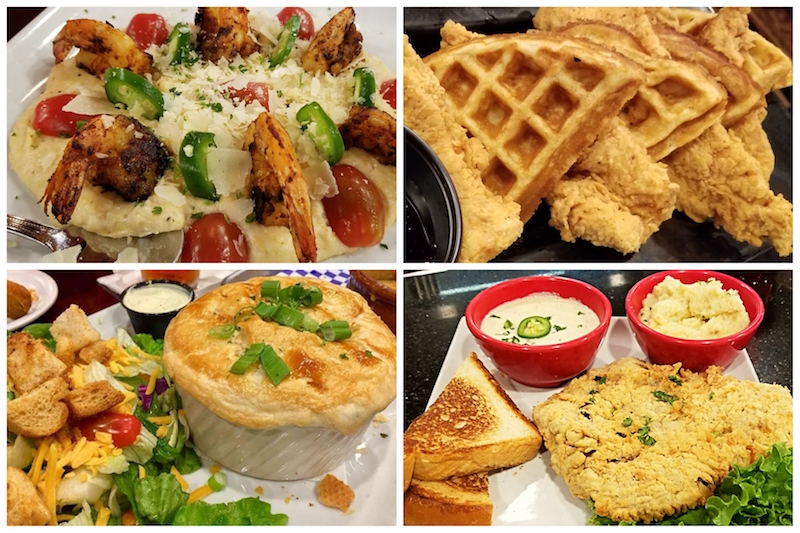 Shrimp N' Gouda Grits, Chicken n' Waffles, Chicken Pot Pie and Chicken Fried Steak at Omega Grill