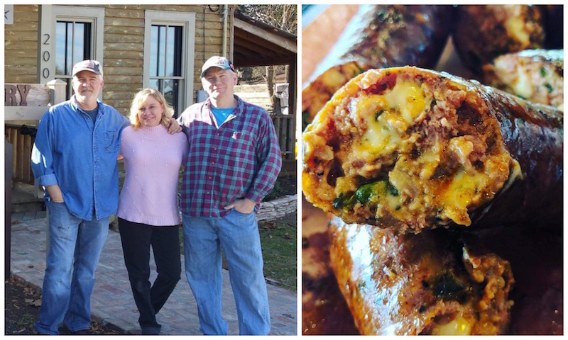 Scott Moore Jr, Michelle Dudley Holland and Greg Moore - Tejas Chocolate & Barbecue - Tomball, TX (Chile Rellano Sausage)