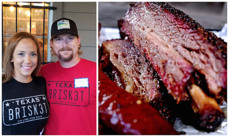 "Will & Nichole Buckman at Corkscrew BBQ - Spring, TX with the ""Dino"" Beef Rib"