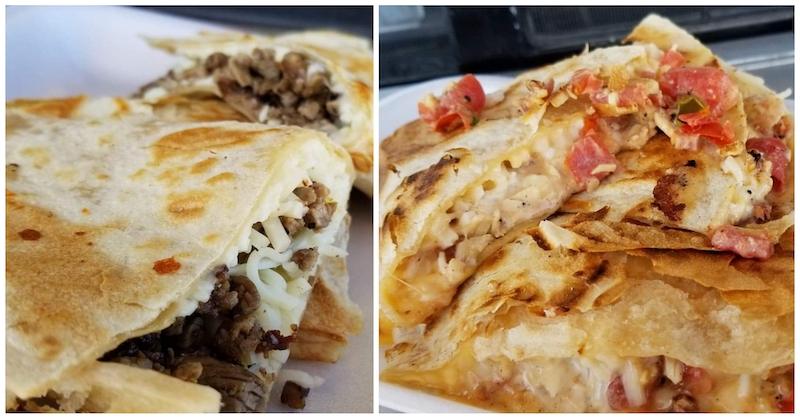 Tacos in Low Places Beef Quesadilla and The Artery Clogger. Photo by Nick Rama.