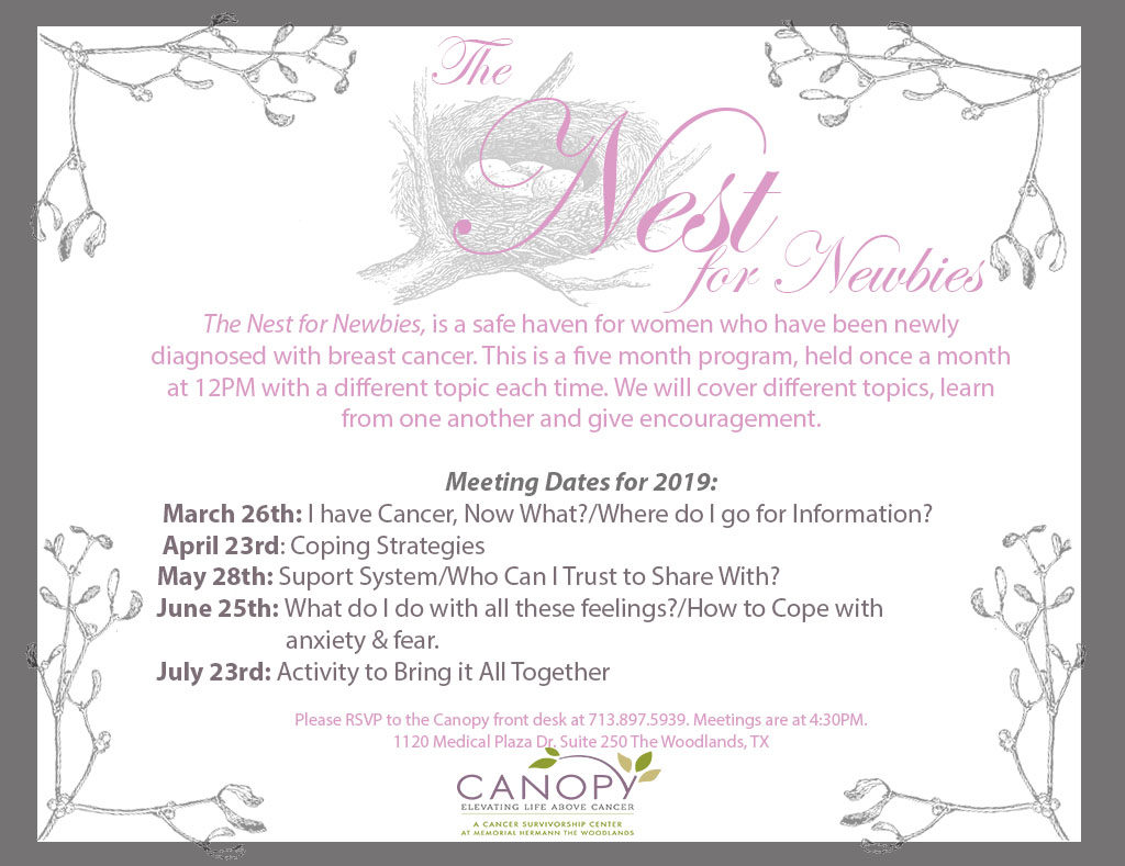 nest newbies breast cancer support group