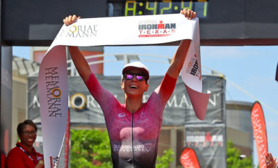 THE WOODLANDS, TEXAS - APRIL 27: Daniela Ryf of Switzerland celebrates after winning The Memorial Hermann IRONMAN North American Championship Texas on April 27, 2019 in The Woodlands, Texas. The Memorial Hermann IRONMAN North American Championship Texas returned to the Lone Star state on April 27, 2019 when over 3,000 registered participants took part in a 140.6 mile race through The Woodlands and surrounding scenic areas of Montgomery and Harris Counties. (Photo by Maddie Meyer/Getty Images)