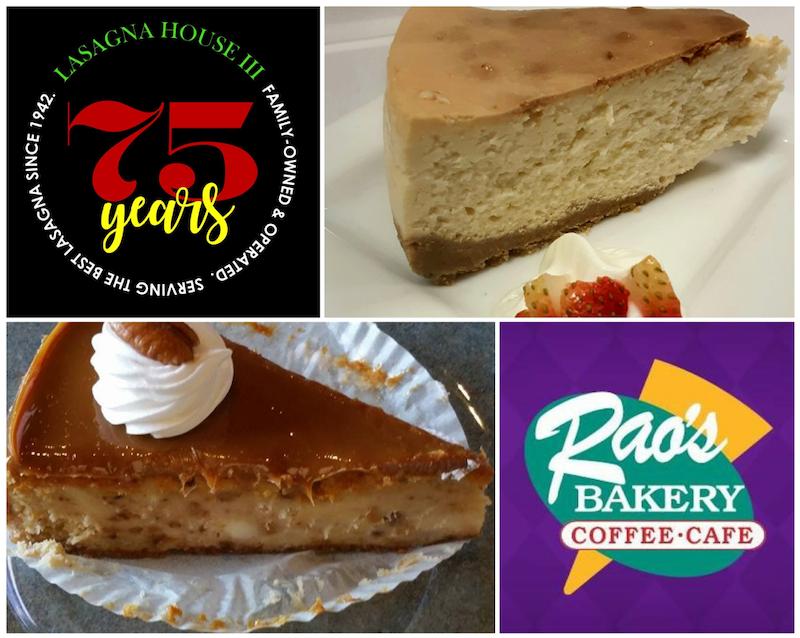 Lasagna House - Plain Cheesecake, photo by Matt Vernon and Rao's Bakery - Salted Caramel Cheesecake, photo by Nick Ram