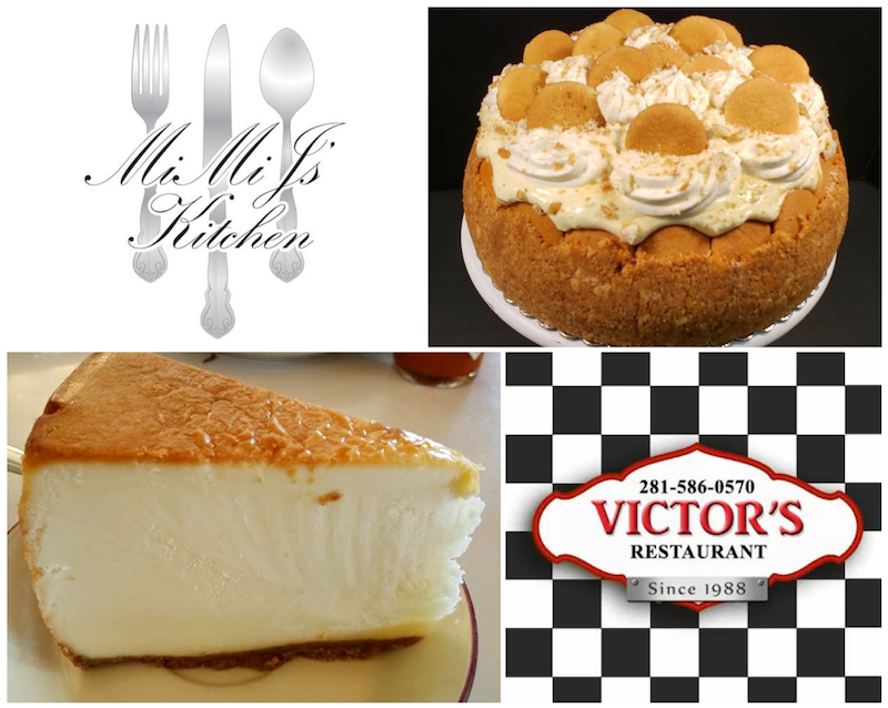 Mimi J's Kitchen - Banana Cloud Cheesecake, photo by Jacque Guinn and Victor's NY Style Plain Cheesecake, photo by Nick Rama