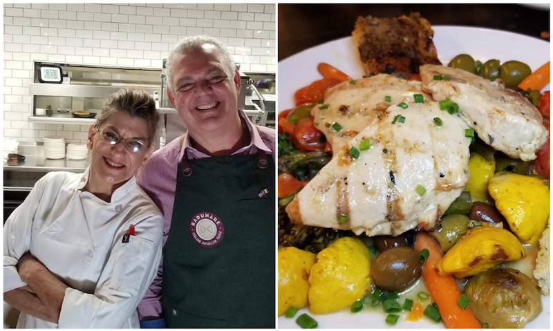 Chef Teresa Palermo and Dr. Frank Morello,Chicken Provencal - Radunare Italian American Table favorite: Grilled chicken breast, lemon rosemary, white wine, garlic, butter, artichokes, olives, capers, roasted cherry tomato, roasted garden vegetables. Photos by Nick Rama