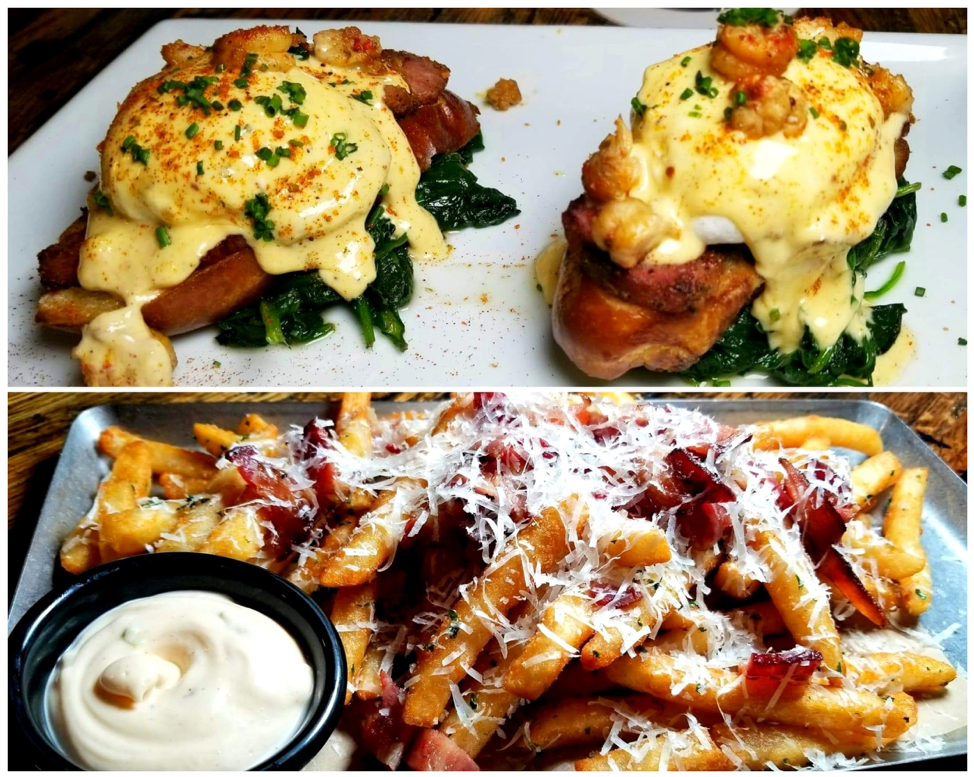 Brunch Menu - Crawfish Benedict - shaves tasso ham, spinach, French Baguette, Cajun hollandaise, eggs, chives, photo by Nick Rama