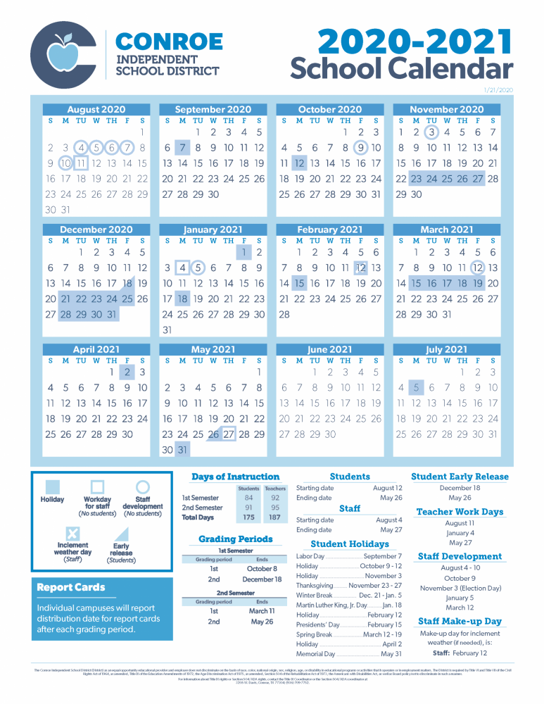 Conroe Isd Calendar 2021-22 2020 2021 cisd conroe isd Calendar | Hello Woodlands