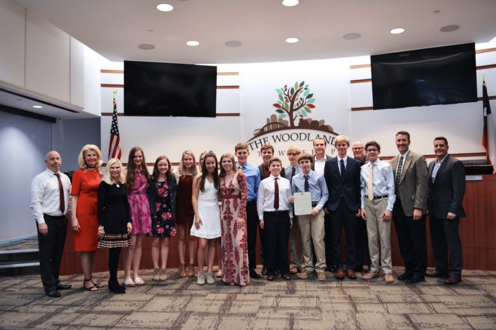 The Woodlands Township Board of Directors proclaimed January 15, 2020 as The Woodlands Christian Academy Cross Country Team State Champions Day. Pictured above, left to right.