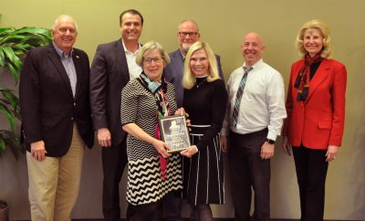 "The Woodlands Township honored Sara ""Sally"" Smith-Frings, Volunteer of the Year for Neighborhood Watch. Pictured left to right: Vice Chairman Bruce Rieser, Chairman Gordy Bunch, Sally Smith-Frings, Director Bob Milner, Secretary Dr. Ann K. Snyder, Treasurer John Anthony Brown and Director Dr. Shelley Sekula-Gibbs."