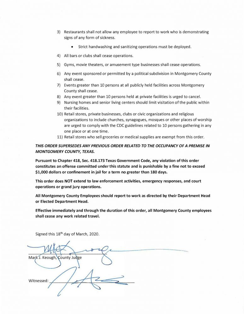 Montgomery County issues order affecting food and drink establishments and movie theaters and other social gatherings in Montgomery County in response to the current and anticipated needs to respond to the COVID-19 crisis.