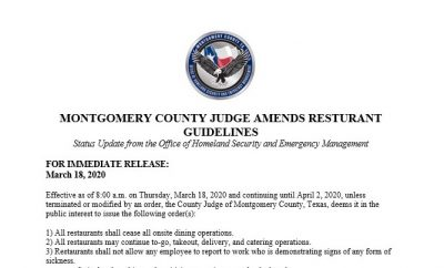 MONTGOMERY COUNTY JUDGE MARK KEOUGH AMENDS RESTAURANT GUIDELINES