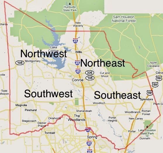 Montgomery County Texas Map First Recovery, 23 Positive COVID 19 Cases in Montgomery County
