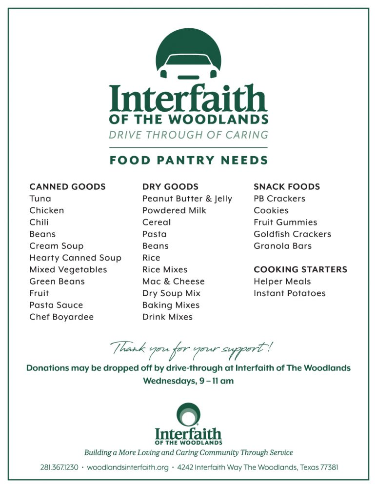 Interfaith Drive Through of Caring Food Pantry Needs