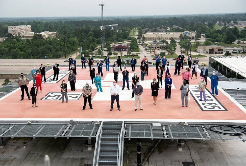 Memorial Hermann staff pray for Physicians and Community on Helipad