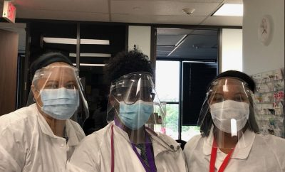 Staff at Neighborhood Pediatrics in Shenandoah Texas Torque face shields