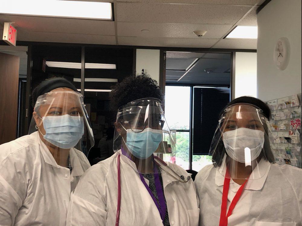 Staff at Neighborhood Pediatrics in Shenandoah Texas Torque face shields