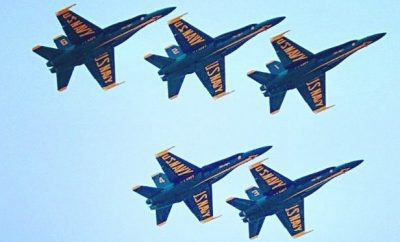 Blue Angels fly over The Woodlands at Memorial Hermann The Woodlands Medical Center