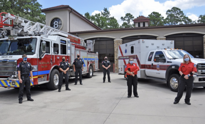 Members of The Woodlands Fire Department and Cypress Creek EMS at The Woodlands