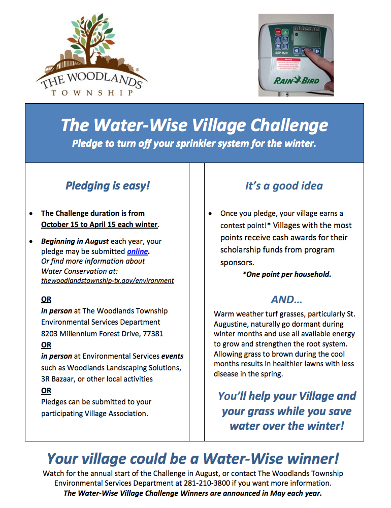 water wise village challenge township environmental services woodlands township no year