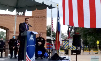 Township Chairman Gordy Bunch speaks at the First Responders event at Town Green Park on September 11, 2020.