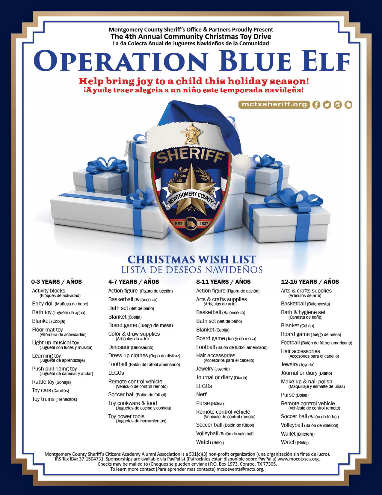 Montgomery County Sheriff's Office 4th Annual Operation Blue Elf
