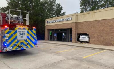 The Woodlands Fire Deparment responds to vehicle crash into Sherwin-Williams store at Alden Bridge Village Center.