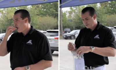 Township Chairman of the Board Gordy Bunch demonstrates the Free COVID-19 testing at The Woodlands Township Town Hall, located at 2801 Technology Forest Blvd. from 9 a.m. to 5:30 p.m., seven days a week. This is an oral fluid-swab testing method administered by Curative, Inc.