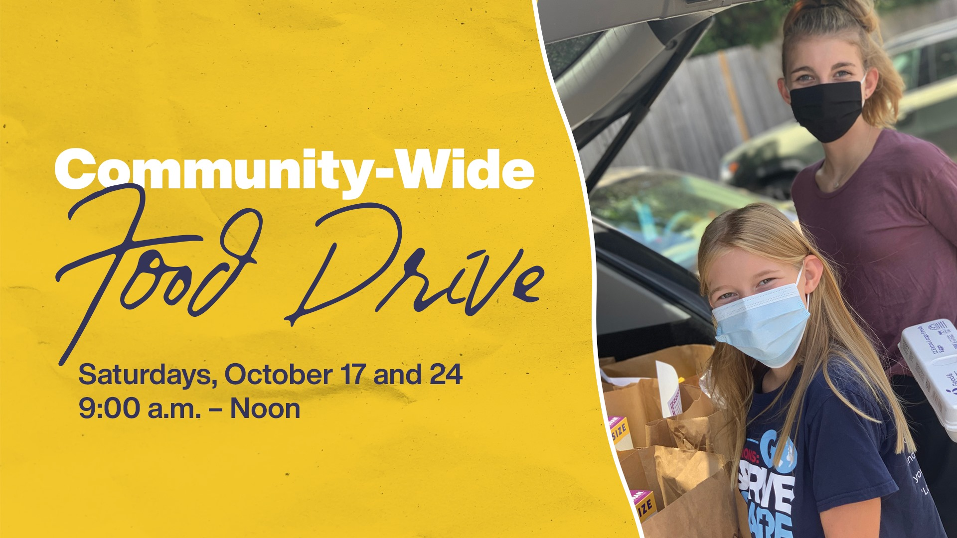 TWUMC Woodlands United Methodist Church community wide food drive 2020