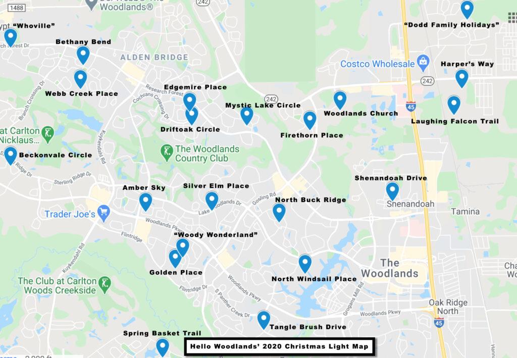 Hello Woodlands Christmas Lights Map 2020