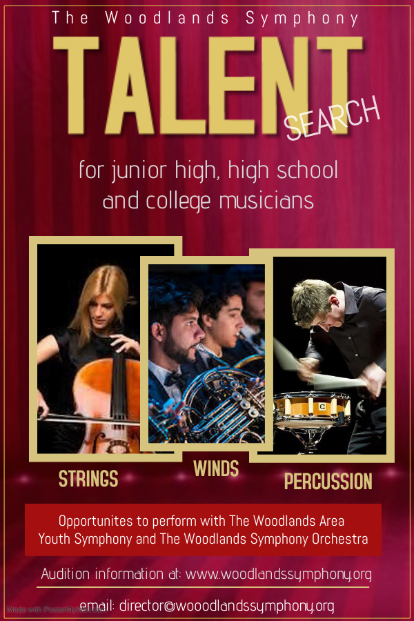Woodlands Symphony Orchestra 2021 Talent Search flyer WSO
