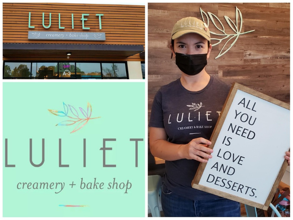 Luliet store front, logo and Nelia Shehaj - owner. Photo by Nick Rama
