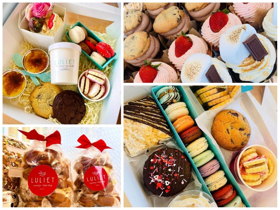 Dessert for Two Box, Cupcakes, artisan caramels, Dessert Charcuterie Box. Photo by Luliet Creamery and Bake Shop