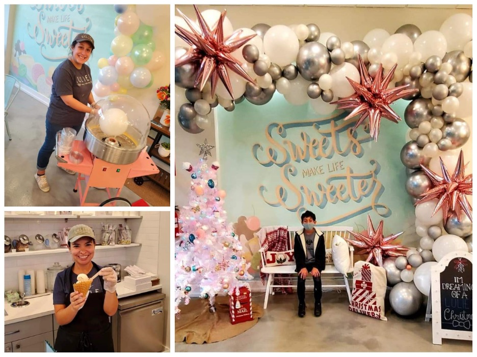 Lexi D. making Cotton Candy, Nelia serving ice crea at Luliet's 1 Year Anniversary celebration, Zac R. with seasonal rotating backgrounds. Photo by Nick Rama