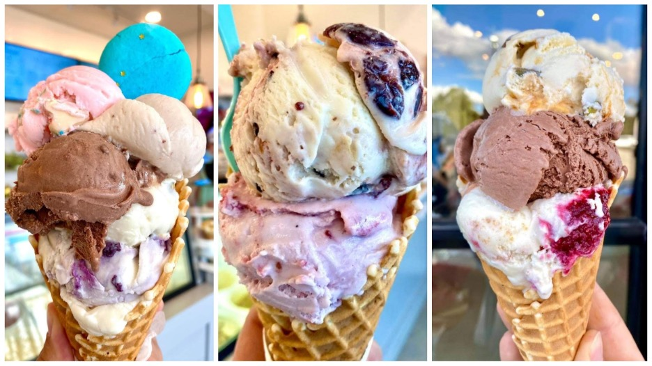 Left: blueberry crumble, chocolate, coffee, strawberry with a Nutella Macaron Ice cream. Middle: hibiscus raspberry, earl gray with blackberry jam topped with cherry stracciatella. Right: raspberry cheesecake, chocolate, dulce de leche with pistachios. Photo by Luliet Creamery and Bake Shop