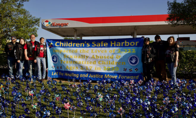 Children's Safe Harbor Pinwheel Art installation 2021