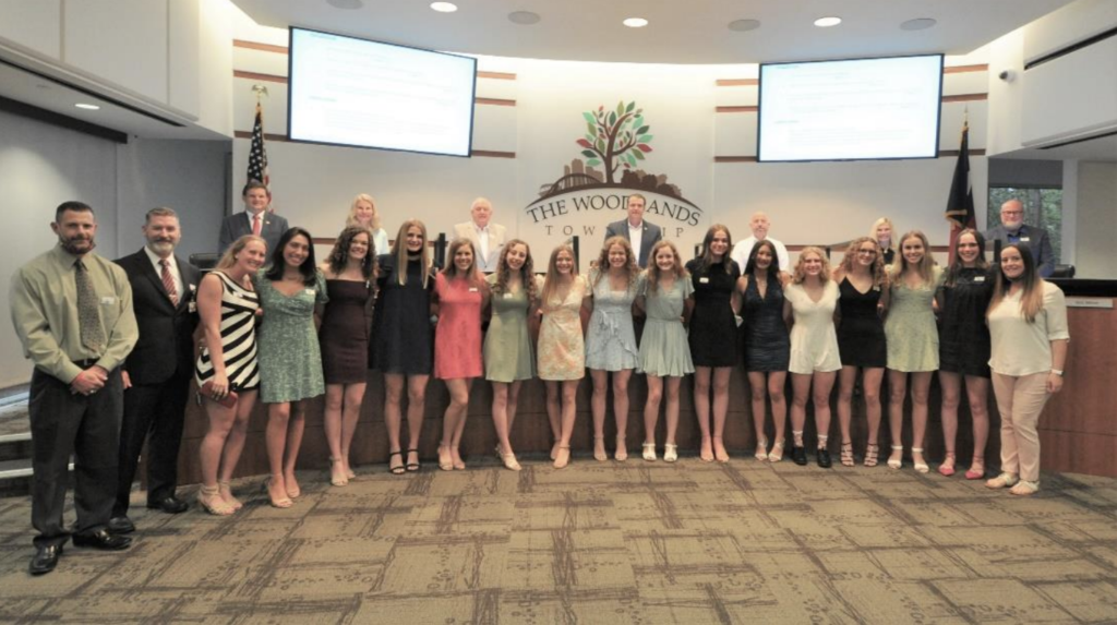 In recognition of The Woodlands High School Girls Swim Team winning a state title in 2018 and winning the program's tenth championship at the UIL Class 6A girls state meet, the Board of Directors proclaimed Wednesday, March 31, 2021 as The Woodlands High School Girls Swim Team State Champions Day.