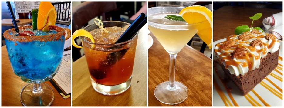 Fantasma Margarita, Dell's Old Fashioned, The Caboose cocktails and WB Chocolate Whiskey Cake