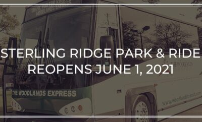The Woodlands Township will restore service for The Woodlands Express from the Sterling Ridge Park and Ride location at 8001 McBeth Way beginning Tuesday, June 1, 2021.