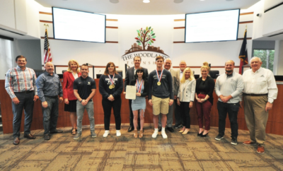Members of The Woodlands College Park wrestling teams were recognized by The Woodlands Township Board of Directors and honored with a proclamation at the Board of Directors Meeting on May 20, 2021.